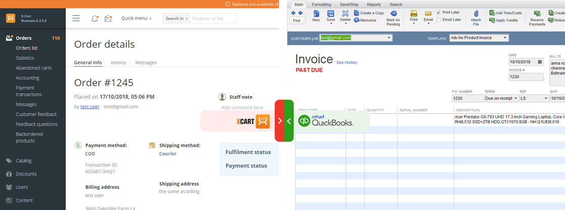 xcart quickbooks invoice integration