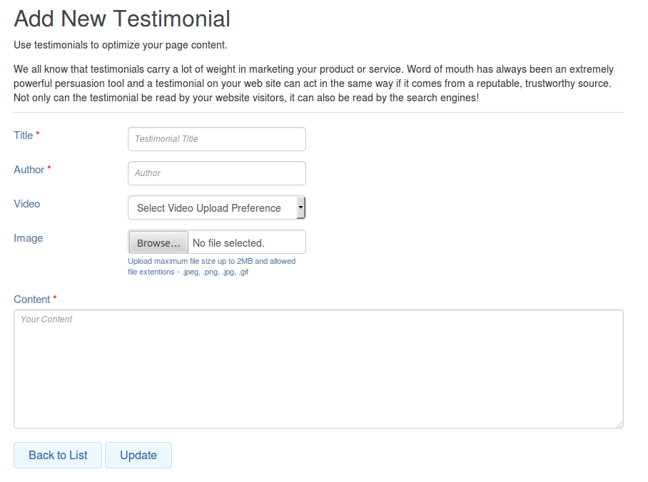and Content Testimonial