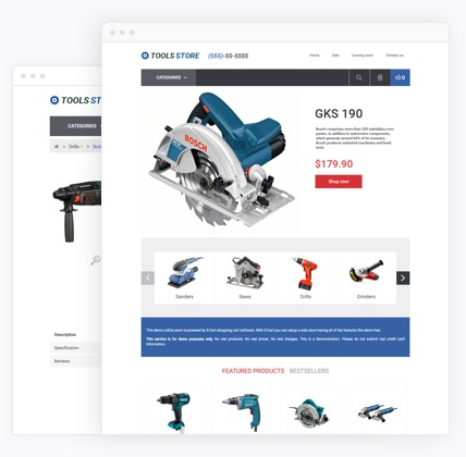 Tools & Equipment eCommerce website templates