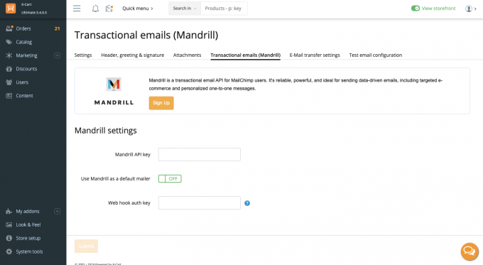 Mandrill Integration (for transactional emails)