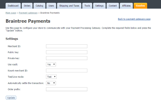 BrainTree payment integration for v4