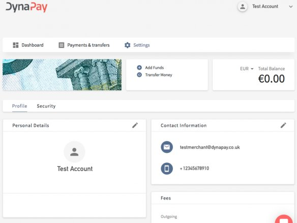 Dynapay Account Management Interface