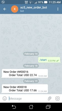 New Order Notification to Telegram