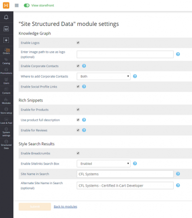 Site Structured Data